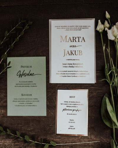 Zaproszenie w kolorze eukaliptusa i złota